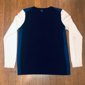 Black, Cream, and Blue Colorblocked Sweater